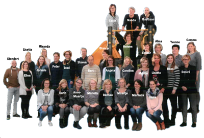 Teamfoto met namen